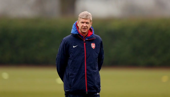 Arsenal manager Arsene Wenger during an Arsenal training session