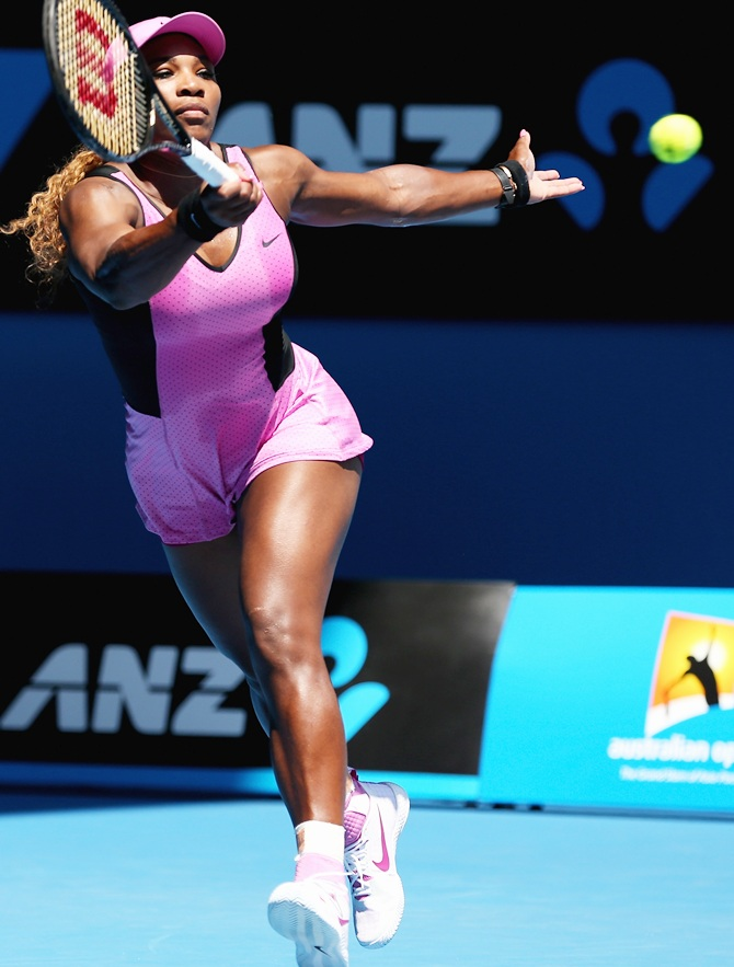 Serena Williams plays a forehand against Daniela Hantuchova