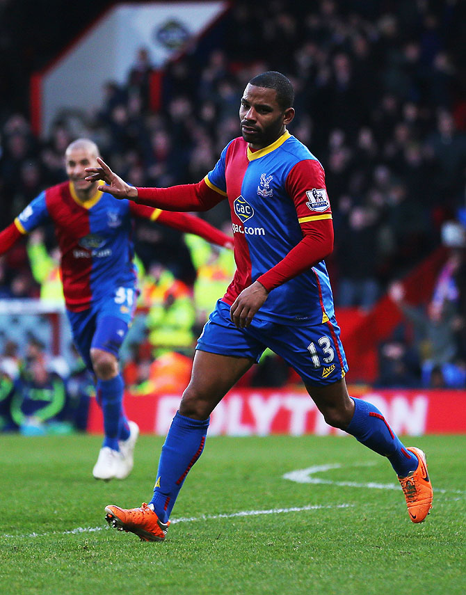 Jason Puncheon of Crystal Palace celebrates after scoring the opening goal against Stoke City at Selhurst Park in London on Saturday