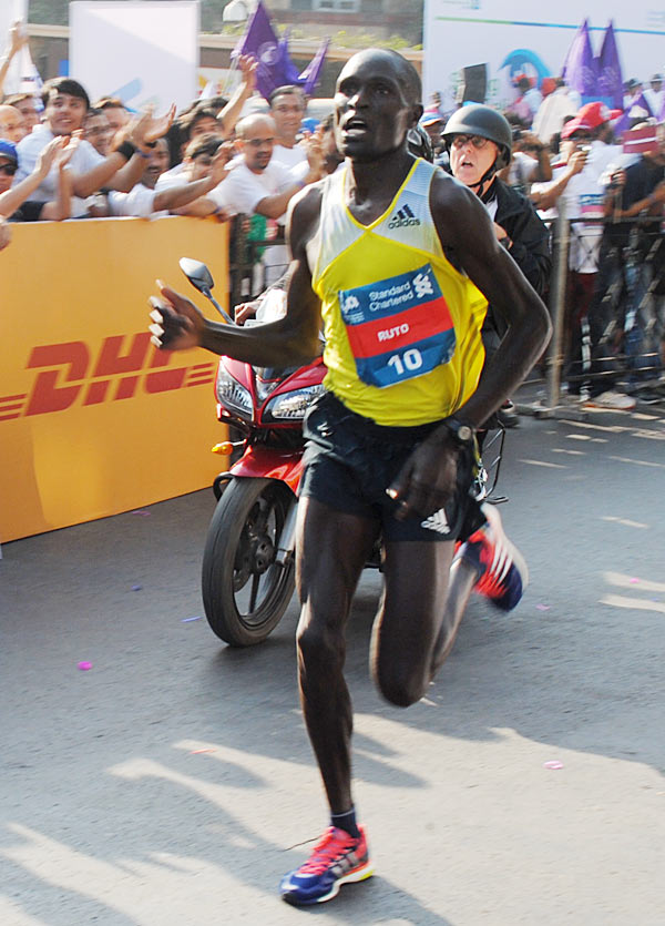 Evans Ruto runs during the Mumbai Marathon on Sunday