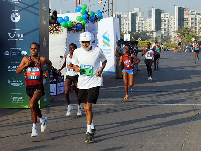 A senior citizen participates in the Marathon on Sunday