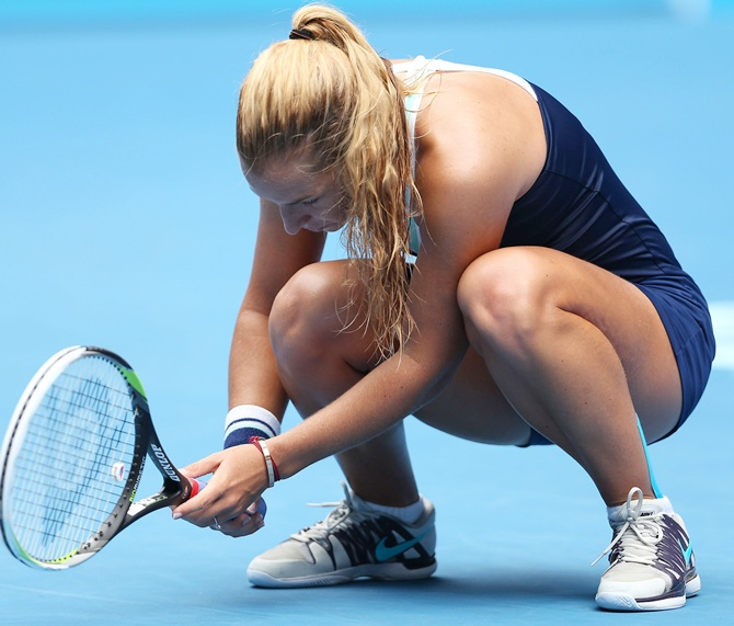 Dominika Cibulkova of Slovakia reacts to a point