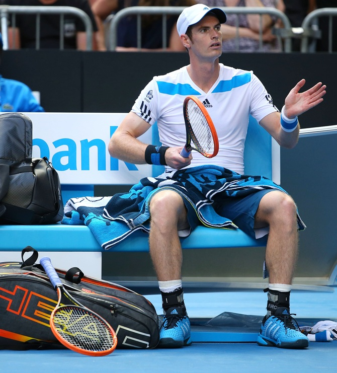 Andy Murray of Great Britain reacts