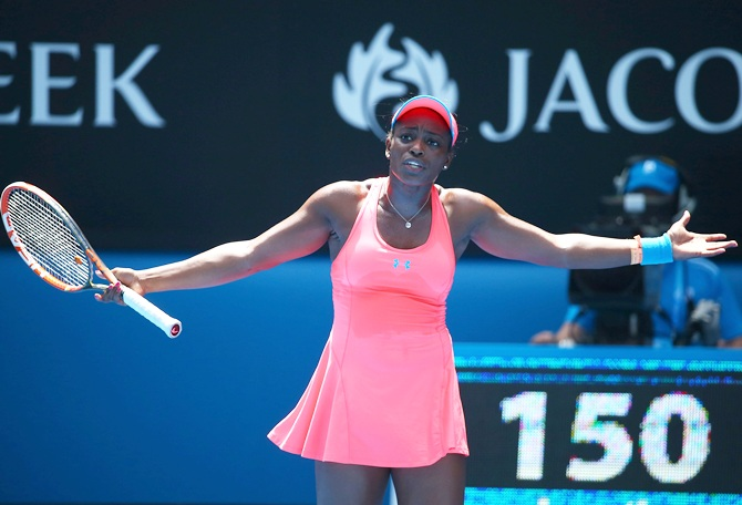 Sloane Stephens of the United States reacts