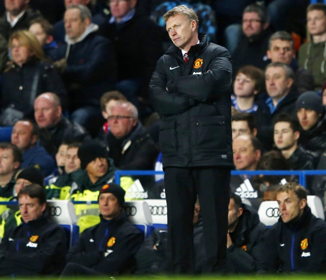 Manchester United manager David Moyes watches from the touchline