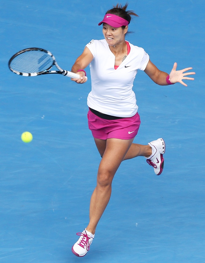 Li Na of China plays a forehand