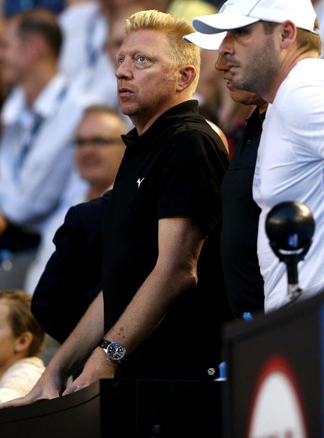 Coach of Novak Djokovic of Serbia, Boris Becker watches on