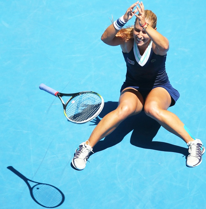 Dominika Cibulkova of Slovakia celebrates winning her quarterfinal match against Simona Halep
