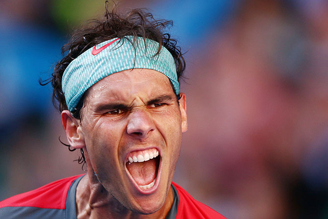 Rafael Nadal of Spain celebrates winning his quarter-final against Grigor Dimitrov of Bulgaria on Wednesday