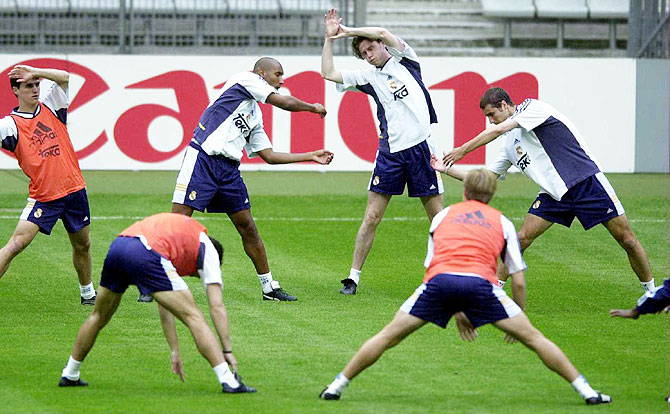 Nicolas Anelka (2nd from left) with Real Madrid teammates at a training session in 2000