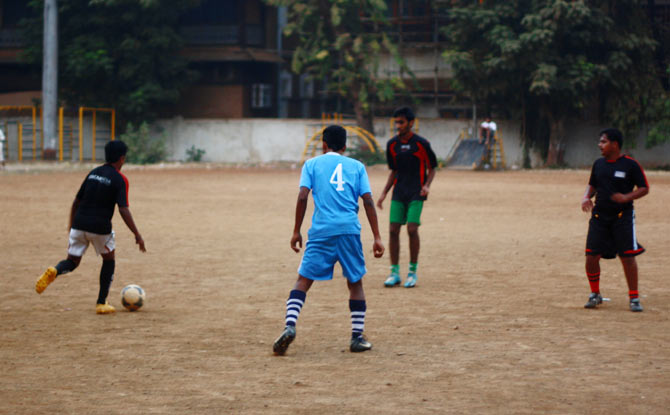 Playing football is their passion today.