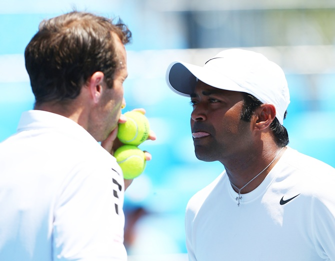 Leander Paes of India and Radek Stepanek of the Czech Republic