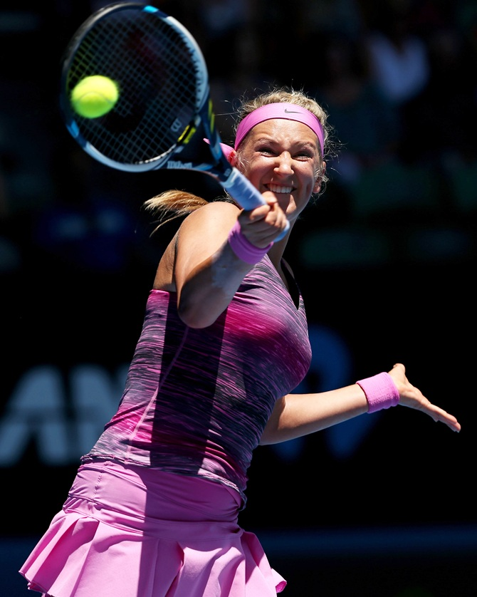Victoria Azarenka of Belarus plays a forehand