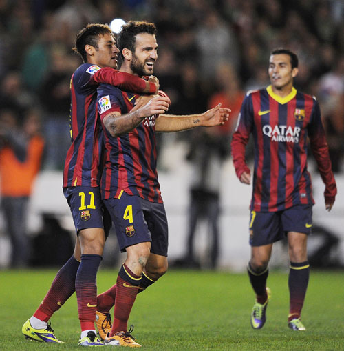 Neymar and Cesc Fabregas