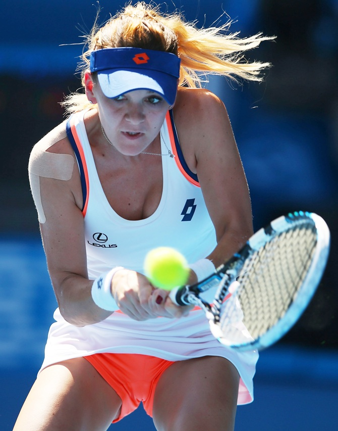 Agnieszka Radwanska of Poland plays a backhand