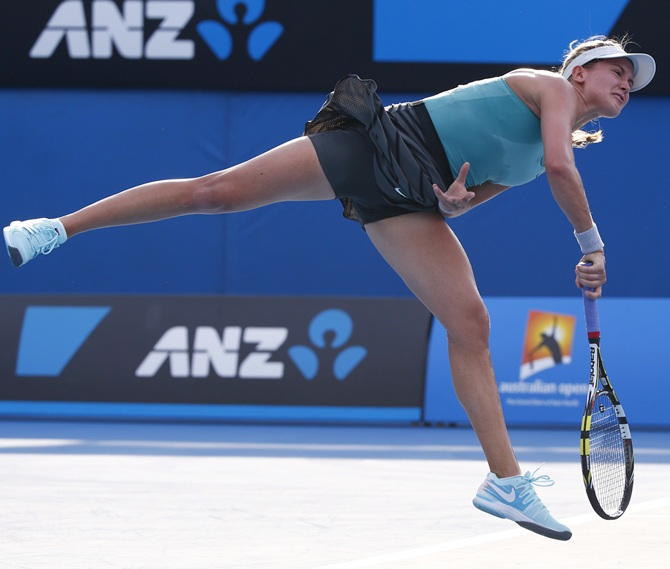Eugenie Bouchard of Canada serves