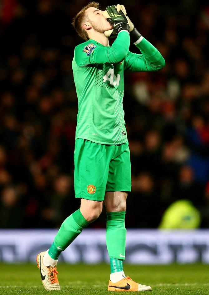 Goalkeeper David De Gea of Manchester United reacts