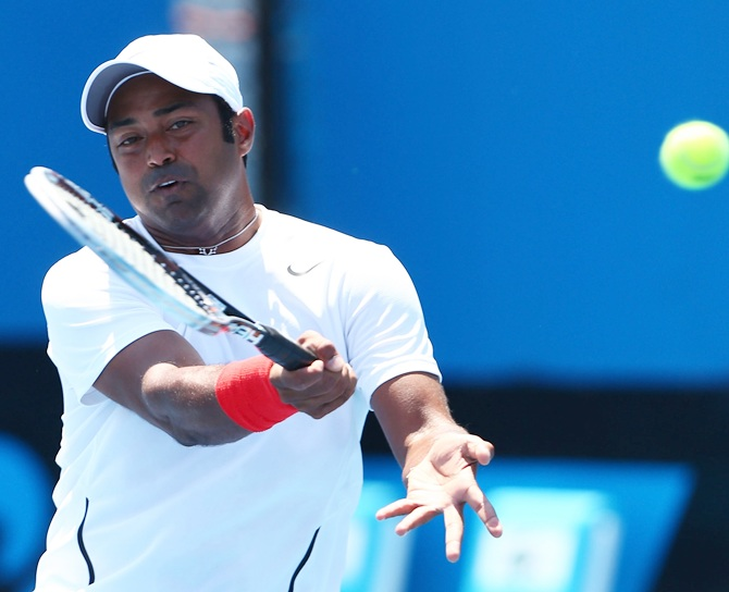 Leander Paes of India plays a forehand