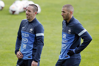 France forwards Franck Ribery and Karim Benzema