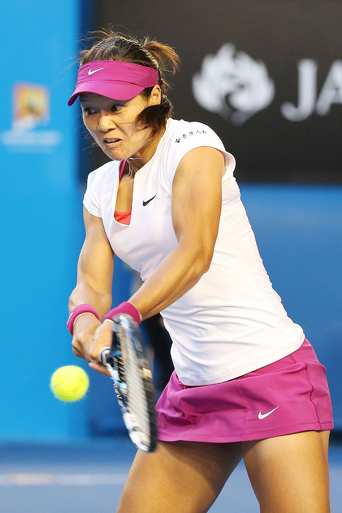 Li Na plays a backhand in her women's final match against Dominika Cibulkova of Slovakia on Saturday
