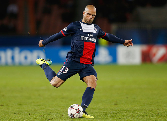 Alex of PSG hits a freekick