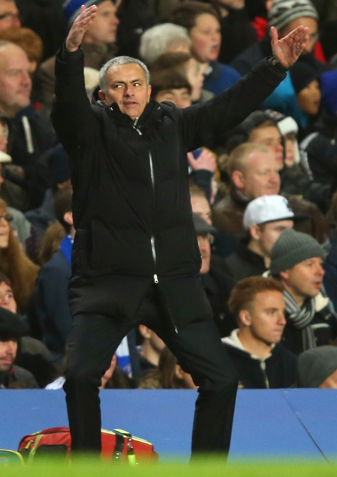 Jose Mourinho the Chelsea manager reacts