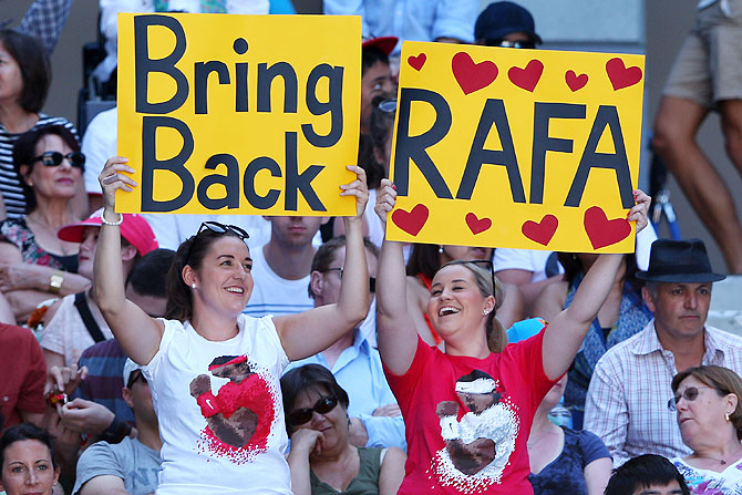 Fans show their support for Rafael Nadal during the 2013 Australian Open quarter-final between Jeremy Chardy of France and Andy Murray of Great Britain