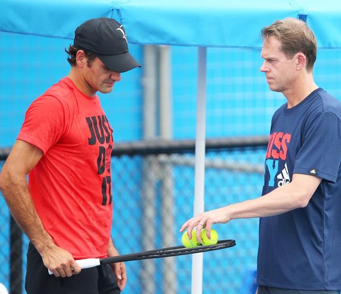 Roger Federer of Switzerland and his coach Stefan Edberg