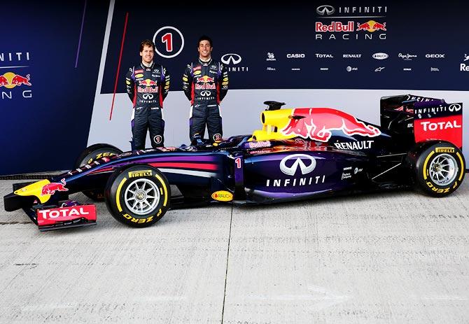 Sebastian Vettel (left) and Daniel Ricciardo at the launch of Red Bull's new F1 car RB10
