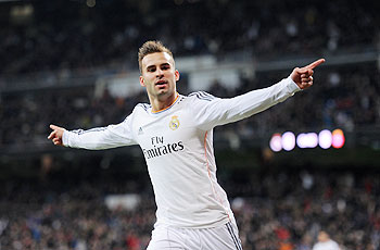 Jese Rodriguez of Real Madrid celebrates after scoring against Espanyol in their Copa Del Rey 2nd leg quarter-final at Estadio Santiago Bernabeu on Tuesday