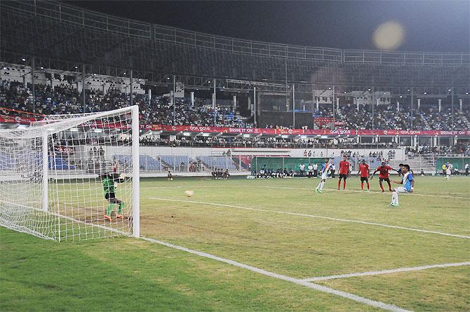 Goa (India's) Brandon Fernandes converts a penalty