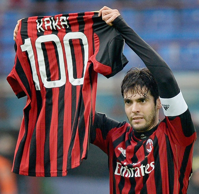 Kaka of AC Milan celebrates scoring his 100th goal for the club
