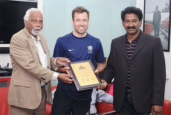 WIFA Hon. Gen. Secretary, Souter Vaz (left) and WIFA CEO, Henry Menezes (right) present a memento to Anthony Frost, Grassroots Instructor from Melbourne, Australia, during the FFA-AIFF Grassroots Festival organised by the Western India Football Association (WIFA) at the Cooperage ground on Wednesday