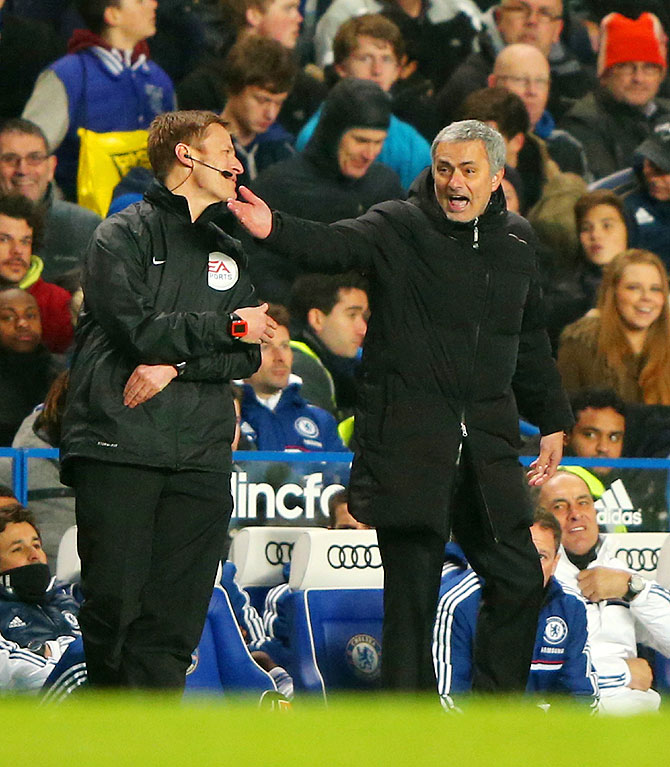 Chelsea manager Jose Mourinho reacts during the Premier League match between Chelsea and West Ham United at Stamford Bridge on Wednesday