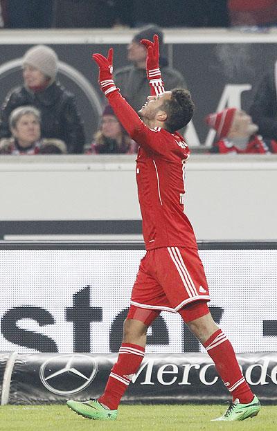 Bayern Munich's Thiago celebrates a goal against Stuttgart during the German first division Bundesliga soccer match in Stuttgart