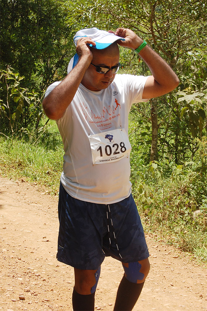 Vishwas Bhamburkar is pictured during the 217km Brazil Ultramarathon