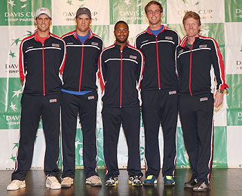 The United States Davis Cup team L-R Mike Bryan,Bob Bryan,Donald Young,Sam Querrey and captain Jim Courier prior to the Davis Cup World Group first round between the U.S. and Great Britain at PETCO Park in San Diego, California, on Thursday