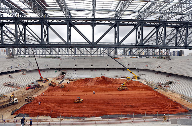 The pitch is seen as construction continues at the Arena da Baixada