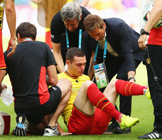 Thomas Vermaelen of Belgium receives treatment during warm ups prior to the 2014 FIFA World Cup Brazil Group H match between Belgium and Russia at Maracana on June 22