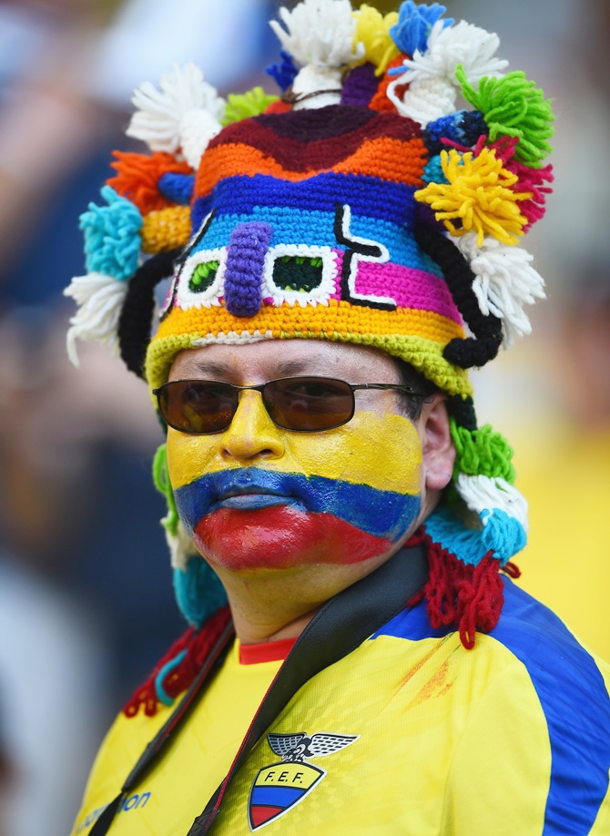 An Ecuador fan enjoys the atmosphere prior to the match between Ecuador and France