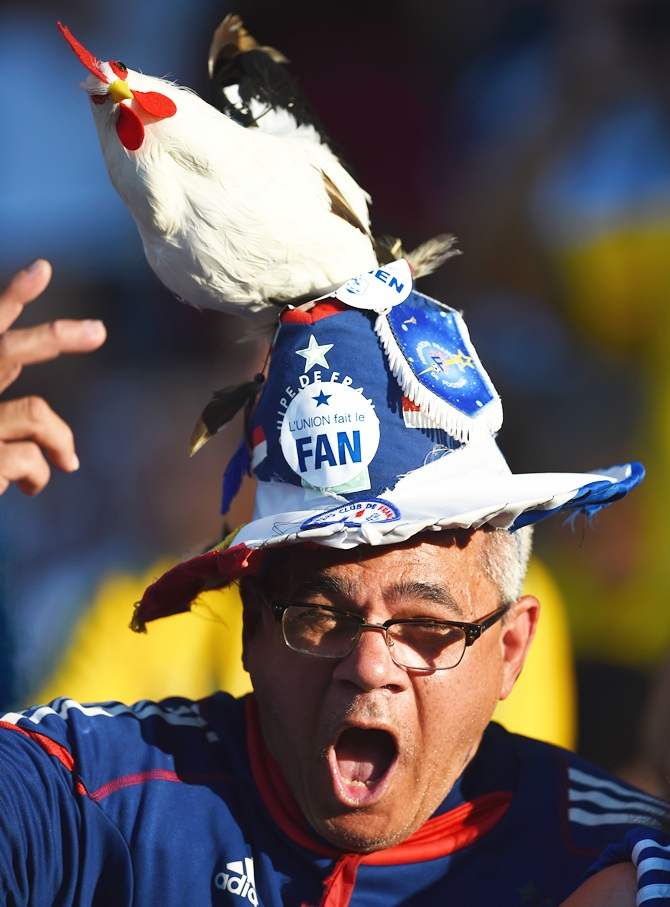 A French fan enjoys himself in the stands