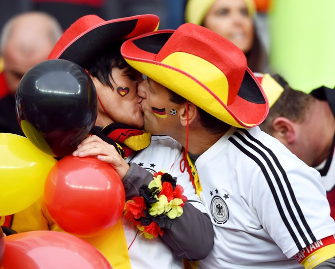 German fans enjoy the atmosphere prior to the Round of 16 match between Germany and Algeria