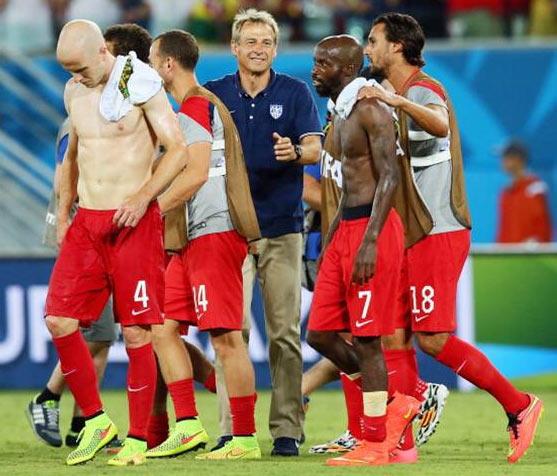 United States coach Jurgen Klinsmann with his players