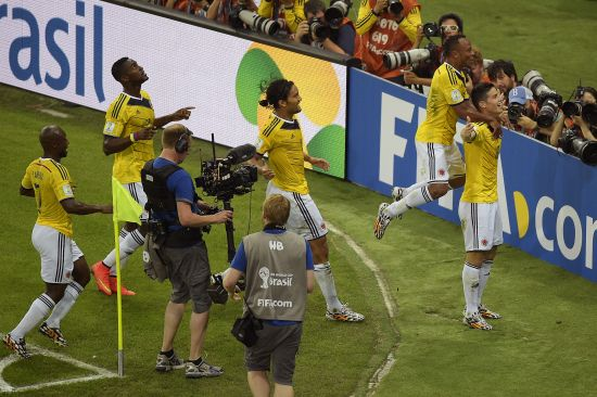 James Rodriguez of Colombia celebrates scoring