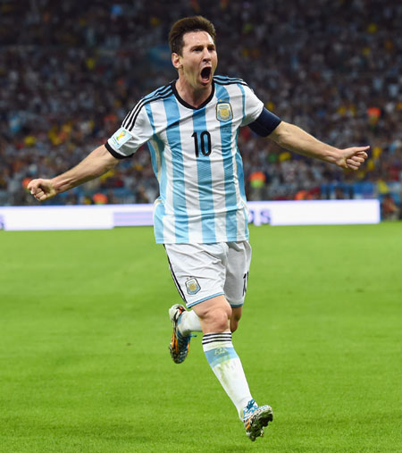 Lionel Messi of Argentina celebrates a win