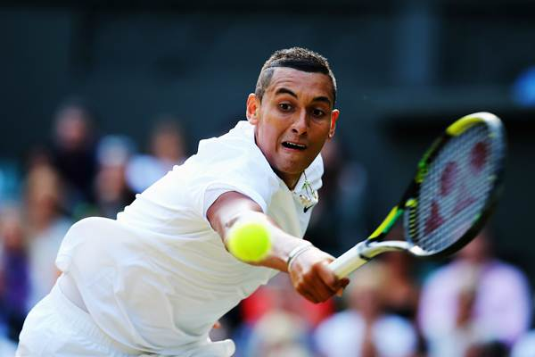 Nick Kyrgios of Australia during his fourth round match against Rafael Nadal of Spain on day eight of the Wimbledon Lawn Tennis Championships at the All England Lawn Tennis and Croquet Club.