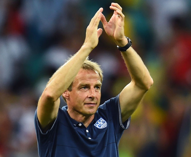 Head coach Jurgen Klinsmann of the United States acknowledges the fans