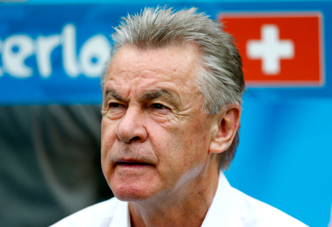Head coach Ottmar Hitzfeld of Switzerland looks on