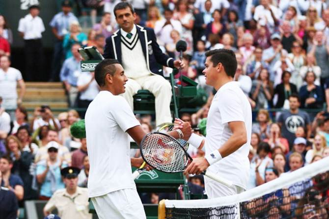 Milos Raonic of Canada shakes hands with Nick Kyrgios after their quarter-final match