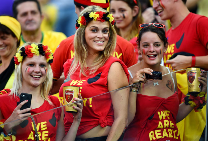 Belgium fans pose in Sao Paolo
